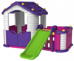 Garden house with a slide purple