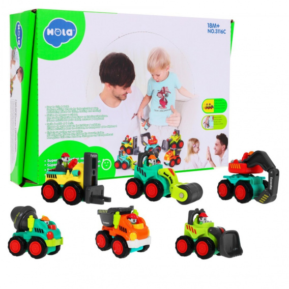 Set of 6 construction vehicles