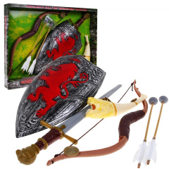 Medieval warrior set, bow, shield, sword, horn